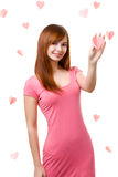 Woman touching heart shape Royalty Free Stock Photos
