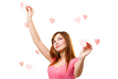 Woman touching heart shape Royalty Free Stock Photo
