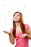 Woman touching heart shape Royalty Free Stock Photography