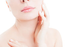 Woman touching her cheek as skin care concept Stock Photography
