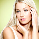Woman touching her fresh  face Stock Image