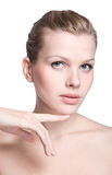 Woman touching with her hand the healthy skin Royalty Free Stock Photos