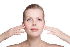 Woman touching with her hand the healthy skin Stock Photo