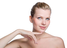 Woman touching with her hand the healthy skin Stock Photos