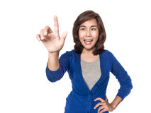 Woman touching imaginary screen, focus on hand Royalty Free Stock Image
