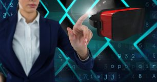 Woman touching and interacting with virtual reality headset with transition effect Stock Images