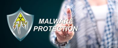 Woman touching a malware protection concept royalty free illustration