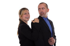 Woman touching man Royalty Free Stock Photos