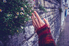 Woman touching an old stone wall Royalty Free Stock Image