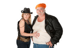 Woman touching partner's large belly royalty free stock photo