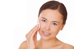 Woman touching pure cotton pad face Royalty Free Stock Image