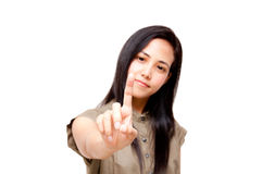 Woman touching on screen Stock Photography