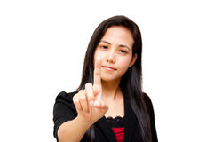 Woman touching on screen Royalty Free Stock Photography