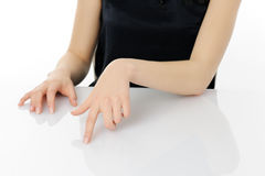 Woman touching screen Royalty Free Stock Images
