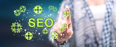 Woman touching a seo concept stock illustration