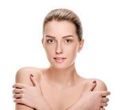 Woman touching shoulders Stock Photo