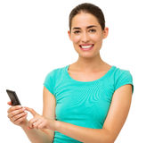 Woman Touching Smart Phone Over White Background Stock Image