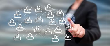 Woman touching a social network concept royalty free stock photo