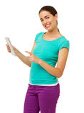 Woman Touching Tablet Computer Over White Background Stock Images