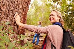 Woman touching a tree in a forest, her son in the background royalty free stock image