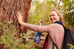 Woman touching a tree in a forest, her son in the background royalty free stock photos