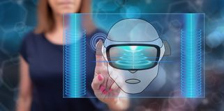Woman touching a virtual reality concept royalty free stock photo