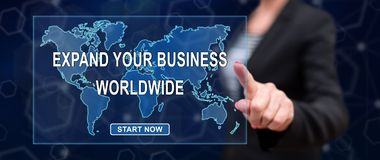 Woman touching a worldwide business development concept royalty free illustration