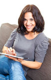 Woman and touchpad Stock Photos