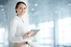 Woman with touchpad Royalty Free Stock Images