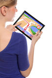 Woman with touchpad pc and a navigation program Royalty Free Stock Photos