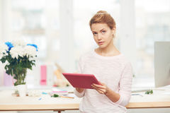 Woman with touchpad Royalty Free Stock Photo