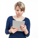 Woman and touchpad Stock Images
