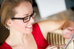Woman and Touchscreen Tablet Stock Photo