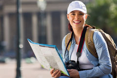 Woman touring city Royalty Free Stock Photography