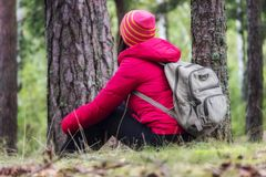 Woman tourism. Back of traveler in the forest looks for the road. Beautiful young woman is traveling and resting in the forest royalty free stock image