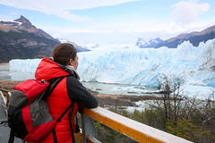 Woman tourist admiring icebergs Royalty Free Stock Images