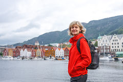 Woman tourist against cityscape of Bergen stock photo