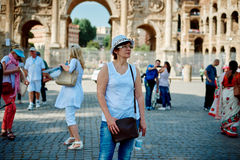 Woman tourist on the background of arch of Constantine Stock Photography