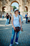 Woman tourist on the background of arch of Constantine Royalty Free Stock Photo