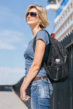 Woman tourist with backpack Stock Photography
