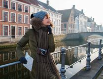 Woman tourist in Bruges, Belgium Royalty Free Stock Photos
