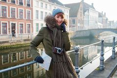 Woman tourist in Bruges, Belgium Stock Photo