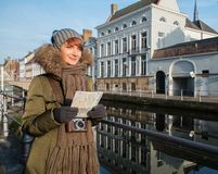 Woman tourist in Bruges, Belgium Stock Images