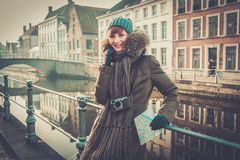 Woman tourist in Bruges, Belgium Royalty Free Stock Image