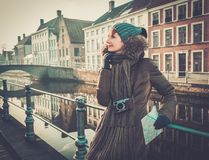 Woman tourist in Bruges, Belgium Stock Photos