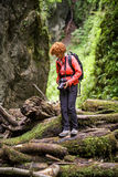 Woman tourist on a canyon Royalty Free Stock Photography