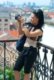 Woman tourist at city view Royalty Free Stock Photo