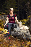 Woman tourist with dog Royalty Free Stock Photo
