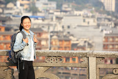 Woman tourist at fenghuang ancient town Royalty Free Stock Images