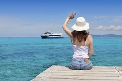 Woman tourist illetas Formentera goodbye Stock Photos